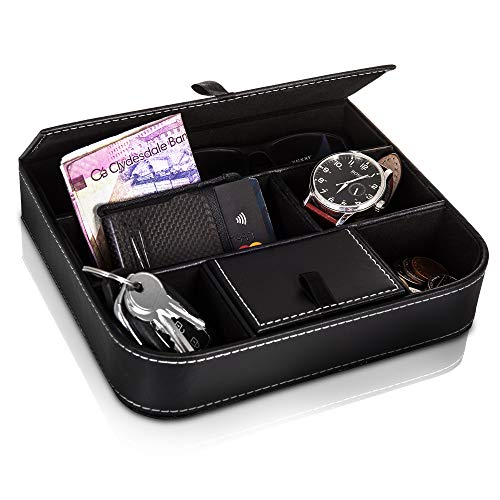 Fineway Stylish 6 Compartment Leather Valet Tray Mens Dresser Wallet Cards Office Jewellery Storage Organiser Box – Ideal for Mobile Phones, Watches, Wallets, Coins, Keys, and Jewellery Watches