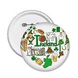 DIYthinker Paisaje de Aduanas Landmark Animales Residente Nacional de la Dieta de la bandera de Irlanda del corazón del amor del patrón de la ilustración alrededor del Pin Badge 5 x Botón S