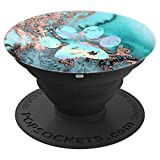 Rainbow Dog Paw Print Teal Rose Watercolor PopSockets Grip and Stand for Phones and Tablets