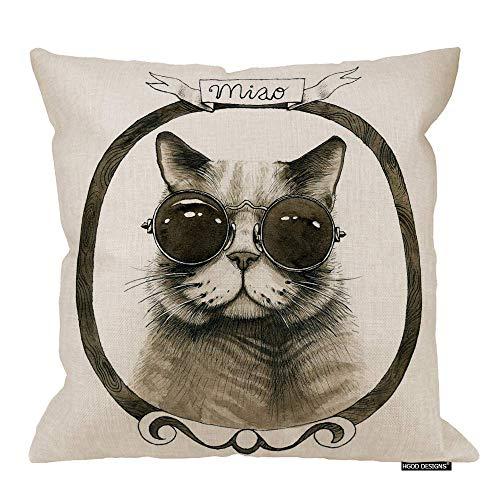 Federa per cuscino con gatto, marrone, stile retrò, con motivo gatto in vetro rotondo, con cornice in legno, cotone, lino, per la casa, 45,7 x 45,7 cm