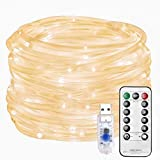 Rope Light USB Plug in Tub Fairy Light Outdoor Indoor 100LEDs 10m/33ft with Timer Remote Control 8 Mode Adjustable Bright Waterproof for Garden Patio Decoration(Warm White)