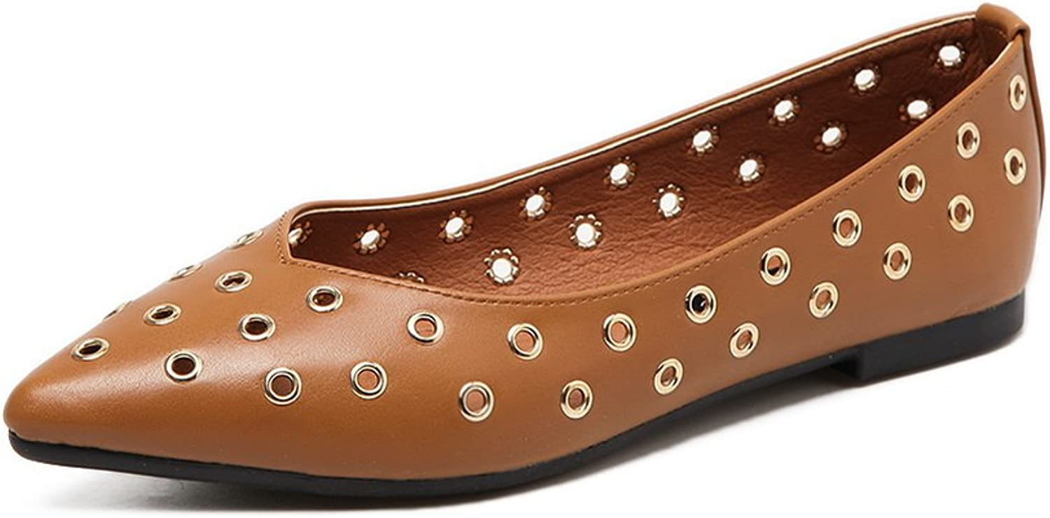 Ladola Womens Low-Cut Uppers Pointed-Toe Urethane Flats shoes