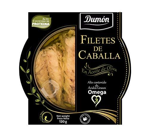 Dumon - 16 Unità da 120 gr di Filetti di Sgombro in Olio di Oliva, Copertina Trasparente Esclusiva con Facile Apertura, Pesce in Scatola Ricco di Proteine e Omega 3.