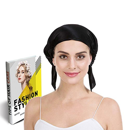 Savena 100% Mulberry Silk Night Sleeping Cap X-Large Size for Thick and Long Hair Bonnet Hat Smooth Soft Many Colors, Hair Care Ebook Included (Black)