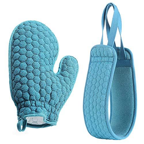Luffaschwämme & Peelinghandschuh Set Rückenschrubber Band für Dusche Rücken Körper Peeling,Rückenbürste Körperbürste Doppelseitig Rückenwascher Natur Baumwolle Duschhandschuh Massage (Marine Blau)