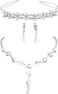PIXNOR Decorato Con Strass Nuziale Gioielli Set Tiara Collana Orecchini