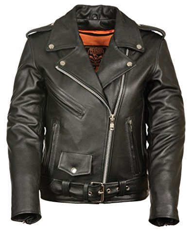 LC2701 Ladies Black Basic Classic Motorcycle Premium Leather Jacket with plain sides,Medium