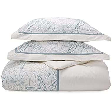 Harbor House 4-Piece Maya Bay Cotton Embroidered Oversized Comforter Set, Queen, White