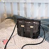 Mdsfe Bolsos Cruzados de Piel sintética de Color sólido con patrón de cocodrilo pequeño para Mujer, Bolsos de Hombro de Verano 2020 para Mujer, Bolsos Simples para Mujer - B Negro, a1