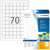 HERMA 10105リムーバブルラベルA4 24 x 24 mm平方ホワイト移動可能/取り外し可能な紙マット1750個。