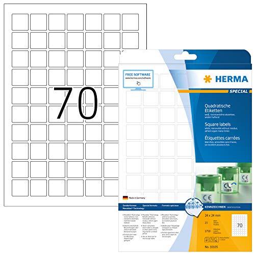 Preisvergleich Produktbild HERMA 10105 Universal Etiketten DIN A4 ablösbar (24 x 24 mm,  25 Blatt,  Papier,  matt,  quadrat) selbstklebend,  bedruckbar,  abziehbare und wieder haftende Adressaufkleber,  1.750 Klebeetiketten