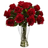 Nearly Natural 1328-RD 18in. Blooming Roses with Vase,Red,13x13x18