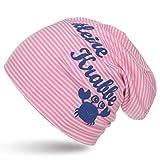 Sonia Originelli Kleinkind Beanie Mütze Baby Kleine Krabbe Maritim Streifen Farbe Rosa