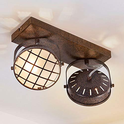 Lindby LED Deckenlampe 'Tamin' dimmbar (Vintage, Industriell) in Braun aus Metall u.a. für Wohnzimmer & Esszimmer (2 flammig, G9, A+, inkl. Leuchtmittel) - Deckenleuchte, Wandleuchte, Strahler, Spot
