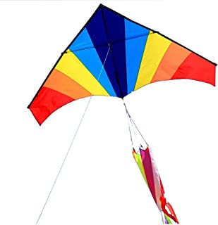 Triangle Rainbow Kite Long Tail Outdoor Sports Baby Toy Child Kite Stunt Kite (Color : Rainbow Color, Size : 400meter line)