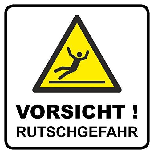 Vorsicht Rutschgefahr Schild | 20 x 20 cm | Hinweisschild 3mm | stabile Hartschaumplatte
