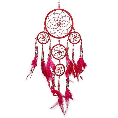 Pink Pineapple Dreamcatcher mit Federn und Silberperlen: Handgemachter Traumfänger Vielen Farben Erhältlich - Rot - Kleine Traumfänger Mit 12 cm Durchmesser und 35 cm Lang