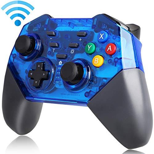 QKa Manette sans Fil pour Nintendo Switch, Gamepad Pro pour Console Nintendo Switch, Fonction Turbo intégrée, Double Choc, Axe du Gyroscope (Bleu),1Pack