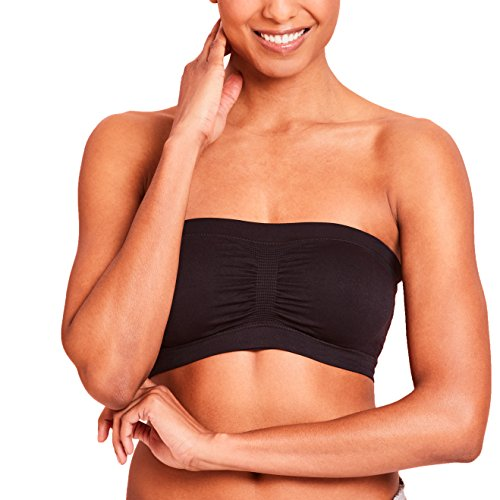 Nursing Bandeau Bra Strapless Breastfeeding Top with Removable Cups by La Leche League - Black, Large