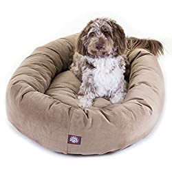 in budget affordable Majestic Pet Products 52 Inch Stone Suede  Donut Dog Bed