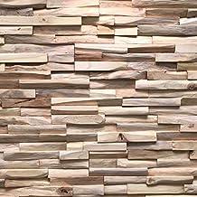 Houtstrip voor muur/wand - Top kwaliteit muurbekleding - Houten panelen/wandpanelen hout (Teak Benevento)