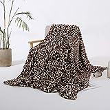 Styho Manta de piel de lujo, gruesa, cálida, suave, con estampado de leopardo, visón, piel sintética, para sofá, dormitorio, color caqui 160 x 200 cm