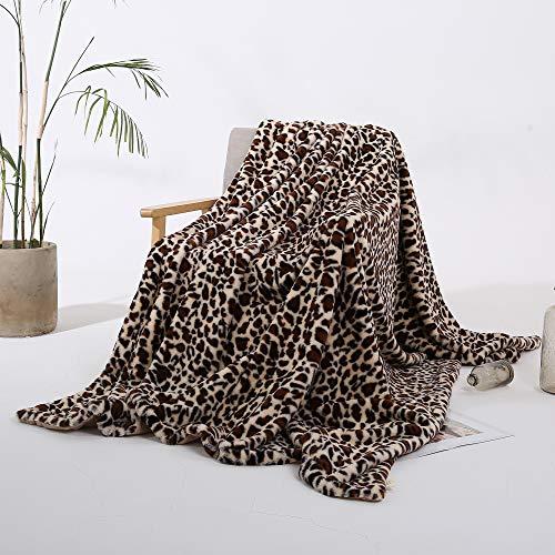 Styho Couverture de luxe épaisse et chaude en fausse fourrure de vison avec imprimé léopard pour canapé, chambre à coucher, kaki 160 x 200 cm
