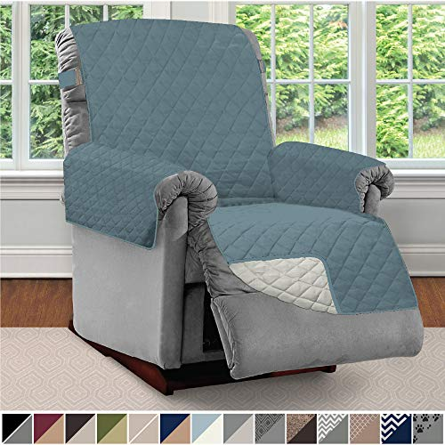 Sofa Shield Original Patent Pending Reversible Large Recliner Protector, Seat Width to 28 Inch, Furniture Slipcover, 2 Inch Strap, Reclining Chair Slip Cover Throw for Pets, Recliner, Seafoam Cream