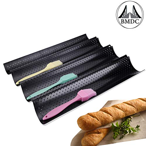 French Bread Baking Pan Nonstick Perforated Baguette Pan 4Loaves Loaf Bake Mold Toast Cooking Bakers Molding Black
