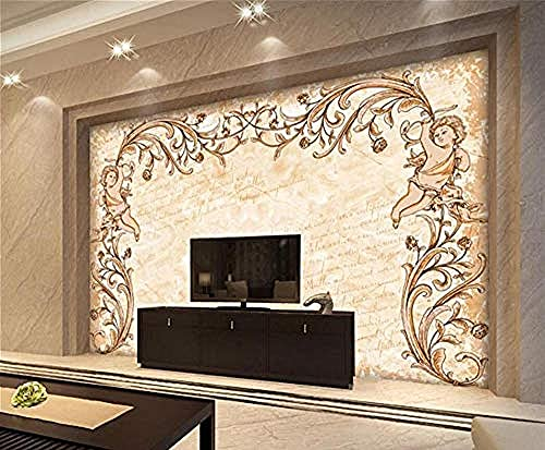 Papel pintado romántico del ángel del modelo del vintage Pared Pintado Papel tapiz 3D Decoración dormitorio Fotomural de estar sala sofá mural-350cm×256cm