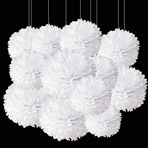 12 weiße Papier-Pompons, Dekorationen für Partys, Decken, Wandbehang, Seidenblumen, Dekorationen – 1 Farbe, 30,5 cm, 25,4 cm