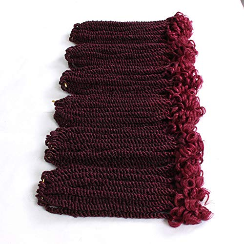 Eunice 6 Packs 12 Inch Ombre Burgundy Crochet Hair Braids Short Havana Mambo Twist Crochet Braiding Hair Senegalese Twists Hairstyles For Black Women 20 Strands/Pack (T1B/BUG)