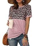 ZANZEA Mujer Camisas Verano Casual Camiseta Manga Corta Estampado Leopardo Bloques Color Block Túnica Blusas 10-Rosado S