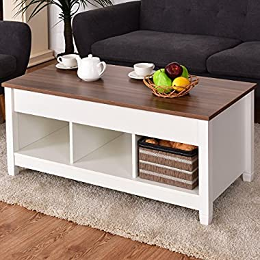 TANGKULA Lift Top Coffee Table Modern Living Room Furniture with Hidden Compartment and Lift Tabletop (White)