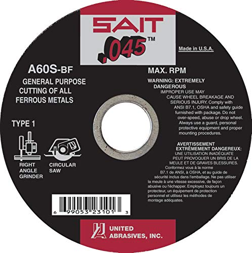 United Abrasives-SAIT 23101 Type 41/1 4-1/2-Inch x .045 Inch x 7/8-Inch Grade A60S General Purpose Cutting Wheels, 50-Pack