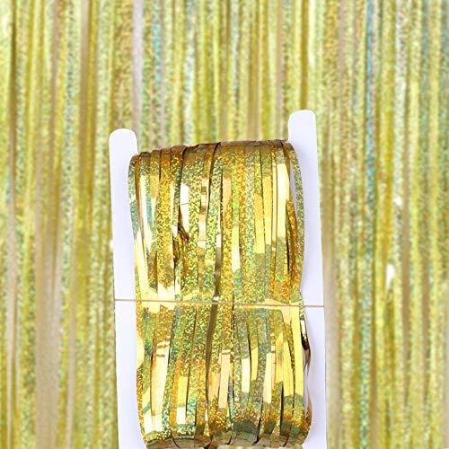 DIWULI, Glitzer-Vorhang Gold, Lametta-Vorhang glänzend, Foto-Hintergrund, Tinsel Schimmer metallic Fransen-Vorhang Folie, Kinder-Geburtstag, Mädchen Junge, Hochzeit, Motto-Party, Dekoration, Deko