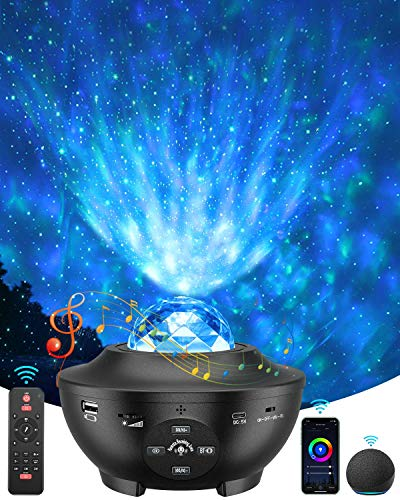 Star Projector, 4 in 1 Smart Galaxy Light Projector Works with Alexa, Google Assistant, 16 Million Colors Phone App Remote Control, Night Light Projector with Bluetooth Speaker for Kid Adult Bedroom