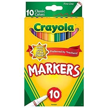 Crayola Original Marker Set Fine Tip Assorted Classic Colors Set of 10