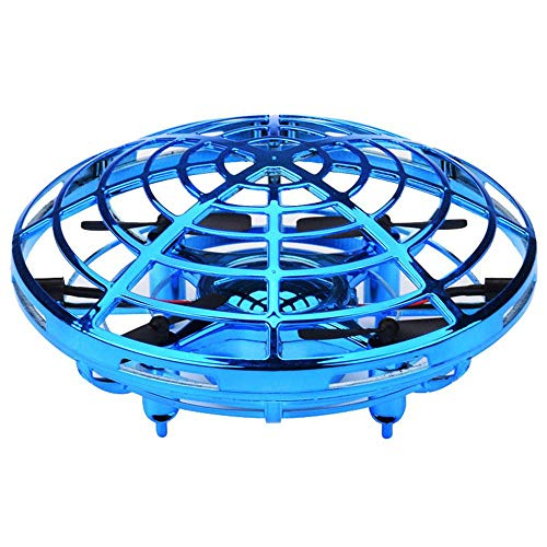 Womdee Hand Operated Drone for Kids Mini Flying Drones Gesture Sensing UFO Drones with 360° Rotating and Shinning LED Lights Indoor Outdoor Flying Ball Drone Toys for Boys or Girls Blue