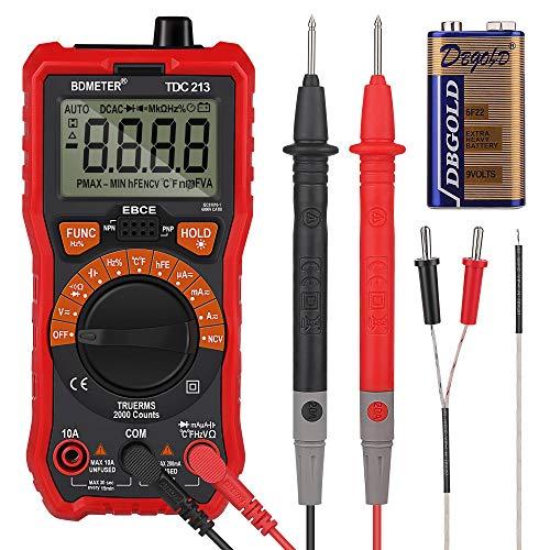 Zorara Digital Multimeter, BDMETER Digitales Mehrfachmessgerät Vielfachmessgerät mit 6000 Counts, Strommessgerät CAT Ⅲ 1000V, True RMS für Elektriker