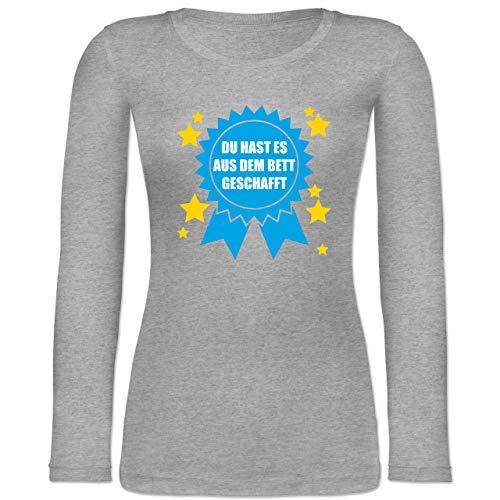Shirtracer Statement - Du hast es aus dem Bett geschafft - S - Grau meliert - Langarm - BCTW071 - Langarmshirt Damen