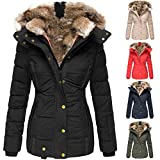 OutTop Quilted Winter Coats for Women Thickened Warm Fleece Lined Faux Fur Hood...