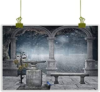 SEMZUXCVO Living Room Decorative Painting Gothic Decor Fictional Middle Age Mythic Stone Bench Balcony Building with Hummingbird Graphic Modern Minimalist Atmosphere W28 x L20 Grey
