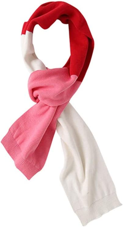 Kids Scarf Unisex Kids Stripe Knitted Warm Winter Outdoor Scarf Shawl Girl Boy Soft Chunky Neck Wrap Scarf Scarves (Color : Red+White+Pink)