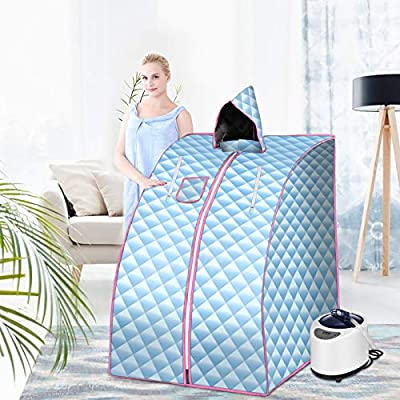 SEAAN Portable Steam Sauna 2.6L Personal Home Sauna for Weight Loss Detoc One Person Body SPA Sauna with Foldable Chair Temperature Adjustable Timer (1000W Blue)