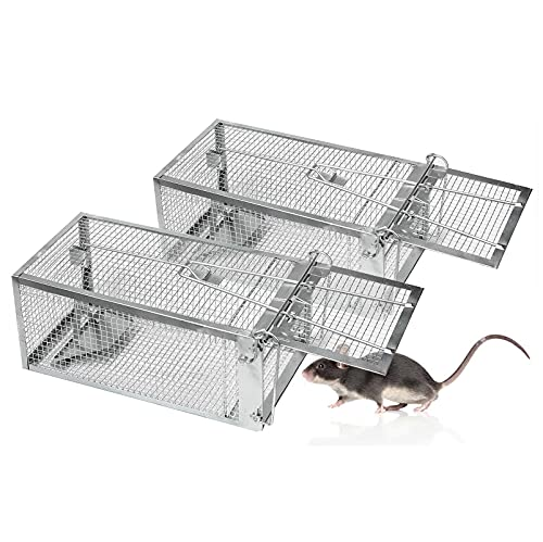 2-Pack Mouse Traps, Small Animal Humane Live Rat Cage Traps for House Indoor Use to Catch and Release Mice, Rats, Mouse and Small Rodents