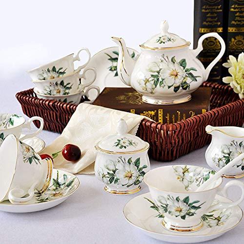 15 Pieces Tea Set For Adults Coffee Tea Pot Bone China Coffee Cups Porcelain Tea Set With Teapot Tea Service For Afternoon Tea B