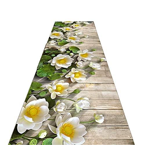 FSCLJ Pasillo Camino de Pasillo, Alfombra de Pasillo de Escalera Blanco Amarillo Floral 3D, Pasillos de Alfombra Modernos Lavables, Alfombras largas Pasillo, 60/80/100/120/140/160 cm de Ancho