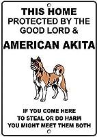 個人的な場所標識アメリカの秋田犬は、主によって保護され、1711ヴィンテージの外観再現金属金属サイネージ壁の装飾ガレージショップバーリビングルームウォールアートポスター