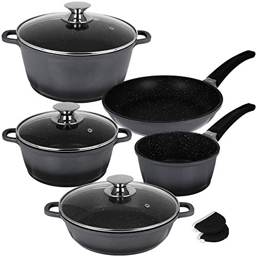 Kochtopf Set Marmor 10tlg mit Farbauswahl Topfset Aluguss Kochtöpfe Töpfe Topf Set Schmortopf Pfanne (Silber)